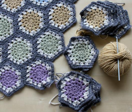 hexagon blanket work in progress